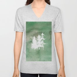 Hand painted forest green white watercolor pine trees Unisex V-Neck
