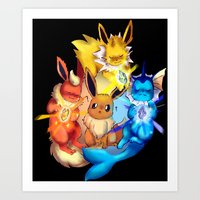 eevee Art Prints featuring EEVEE by Rosie