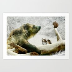 Bear, Squirrel and Kitten Art Print