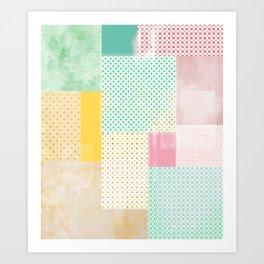 subtle geometric quilt Art Print