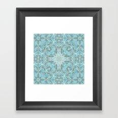 Soft Teal Blue & Grey hand drawn floral pattern Framed Art Print