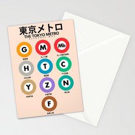 Tokyo subway map print. City metro alphabet poster, japan underground print, japanese city wall art. Stationery Cards
