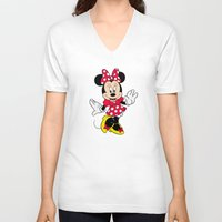 minnie mouse V-neck T-shirts featuring Cute Minnie Mouse by Yuliya L
