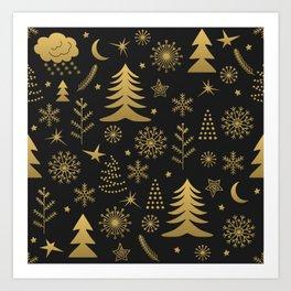 Black and Gold Classic Christmas Art Print