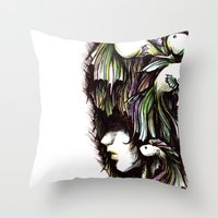 the life aquatic Throw Pillows featuring Aquatic by Emma Lettera