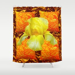 YELLOW GERMAN BEARDED IRIS FLOWER ON GOLD ART Shower Curtain