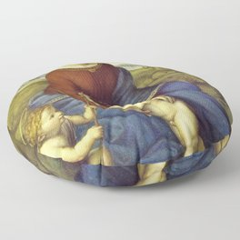 Madonna of the Meadows by Raphael Floor Pillow