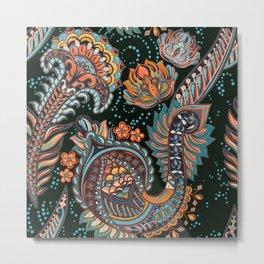 Boho Floral Pattern Metal Print