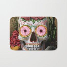 Flora - Sugar Skull with Cactus, Red Roses, Avocado and Papaya Bath Mat