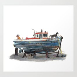 Dog Boat Art Print