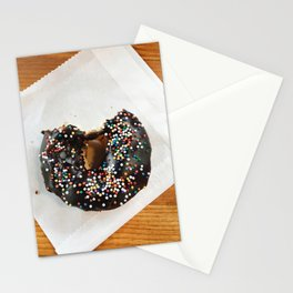 Chocolate donut with sprinkles Stationery Cards