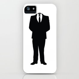 Anonymous Headless Tuxedo Suit Silhouette Man iPhone Case