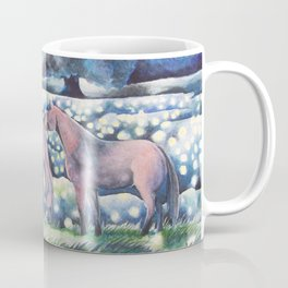 Moonlit Summer Night Horses And Fireflies Coffee Mug