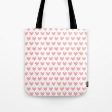 Coral Pink Watercolor Hearts Tote Bag