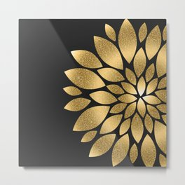 Pretty gold faux glitter abstract flower illustration Metal Print