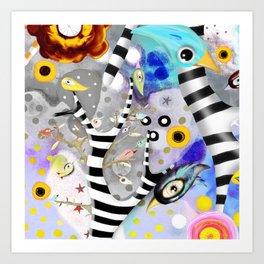 We gotta get away from here - Venzuela - BIRDS STRIPED TREE Art Print