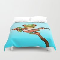 poland Duvet Covers featuring Tree Frog Playing Acoustic Guitar with Flag of Poland by Jeff Bartels