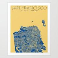 san francisco map Art Prints featuring SAN FRANCISCO City Map by Samantha Jeet