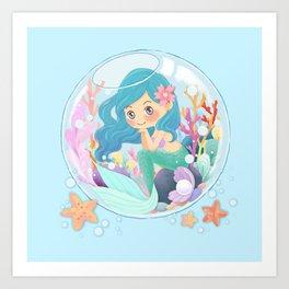 Cute Mermaid pink and blue Art Print