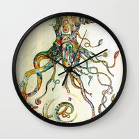 watercolor Wall Clocks featuring The Impossible Specimen by Will Santino