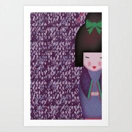 Little Geisha Purple Art Print