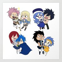 fairy tail Art Prints featuring Fairy Tail Chibi Couples by Minty Cocoa