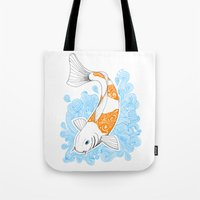 koi fish Tote Bags featuring Koi fish  by Art & Be