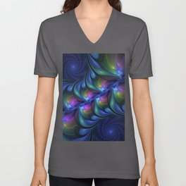 Colorful Luminous Abstract Blue Pink Green Fractal Unisex V-Neck