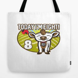 Kid's 8th Birthday Today I'm Eight! Cute Cow Tote Bag