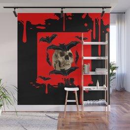 BAT INFESTED HAUNTED SKULL ON BLEEDING HALLOWEEN ART Wall Mural