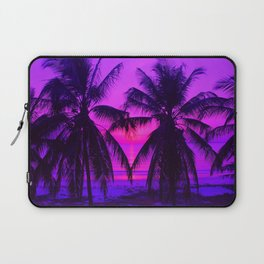 Pink Palm Trees by the Indian Ocean Laptop Sleeve