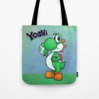 yoshi Tote Bags featuring Yoshi by belindazart