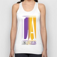 los angeles Tank Tops featuring LOS ANGELES  by Robleedesigns