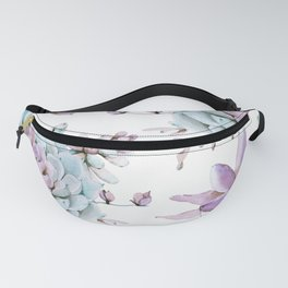 Turquoise and Violet Succulents Fanny Pack