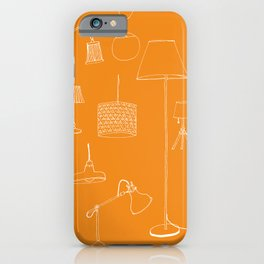 Lamps, lamps, lamps in orange background iPhone Case