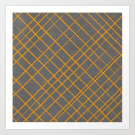 Hand Drawn Cross-Hatch (Gray/Orange) Art Print