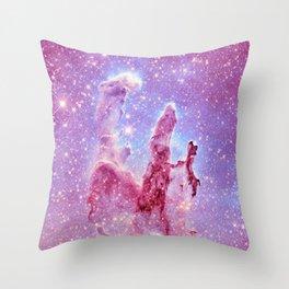 Galaxy nebula : Pillars of Creation lavender mauve periwinkle Throw Pillow