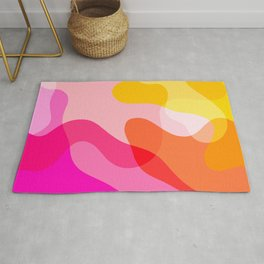 Abstract Yellow Pink Colorful Organic Shapes Rug