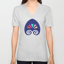 Multicolored fans and stripes pattern Unisex V-Neck