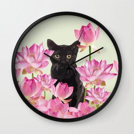 Lotus Flower Blossoms Black Cat Wall Clock