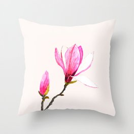 magnolia watercolor painting Throw Pillow