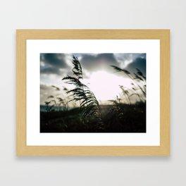 Sun sets at the beach Framed Art Print