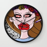 ultraviolence Wall Clocks featuring Fame Kills  by Luc Étrier