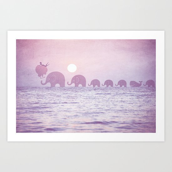 Elephants - a dream walk Art Print