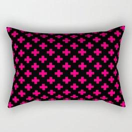 Hot Neon Pink Crosses on Black Rectangular Pillow