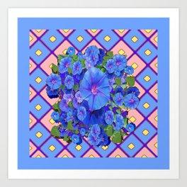 Blue Diamond Patterns Morning Glories Art Art Print
