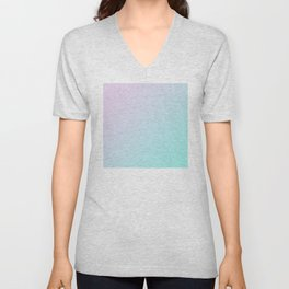Light Pink Magenta and Light Soft Cyan Blue Gradient Ombré Unisex V-Neck