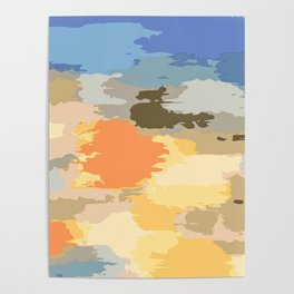 colorful painting abstract background in blue orange yellow pink and brown Poster