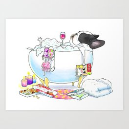 French Bulldog in the Tub - black and white pied Art Print