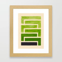 Sap Green Geometric Watercolor Painting Framed Art Print
